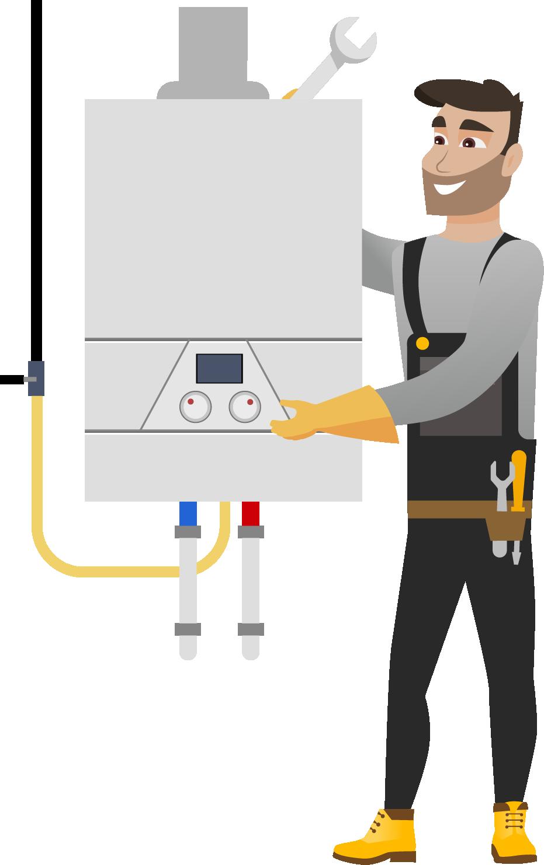 Instalarea Standard a unui cazan pe gaz cu condensare de pina la 24kW