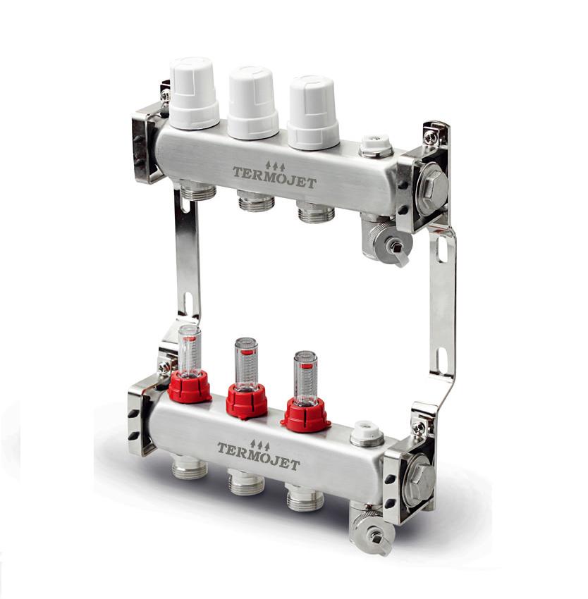 Set distribuitor inox Termojet 6 cai cu debitmetru TJ-W-06